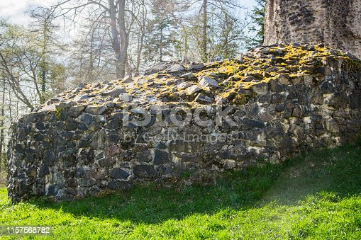 A ruined castle on the top of a hill near the town of Wadern, kreis Merzig-Wadern, in Saarland, Germany.