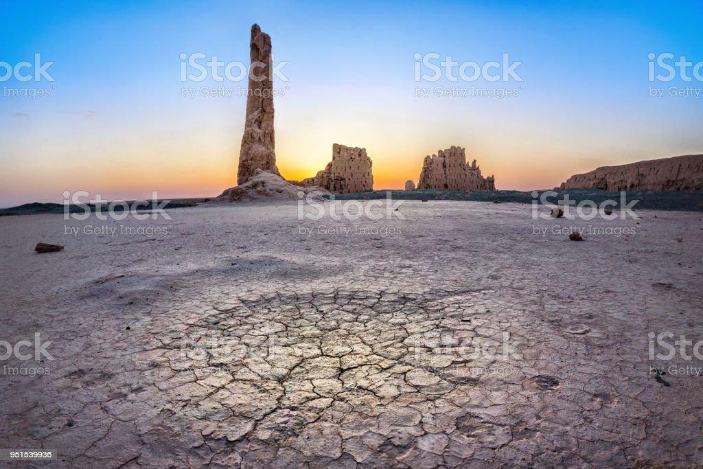 Ruinen von Djanpik Qala gelegen Kysylkum Wüste, Usbekistan – Foto