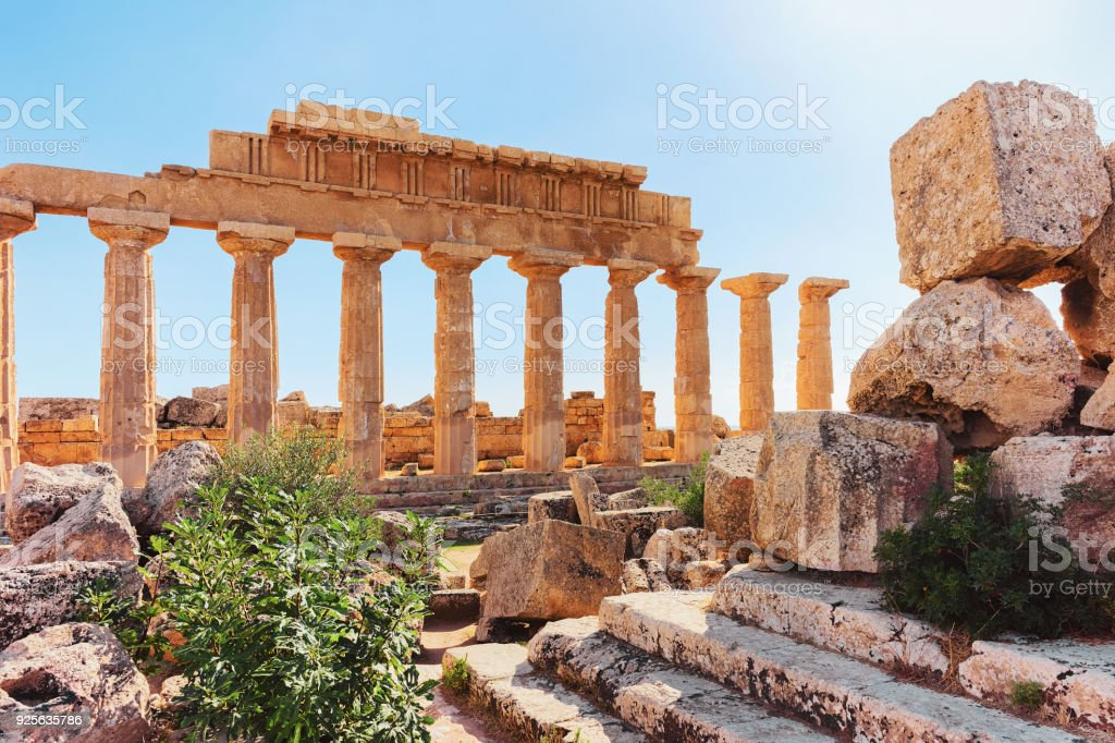 Ruins of Doric acropolis and Temple in Selinunte at Sicily stock photo