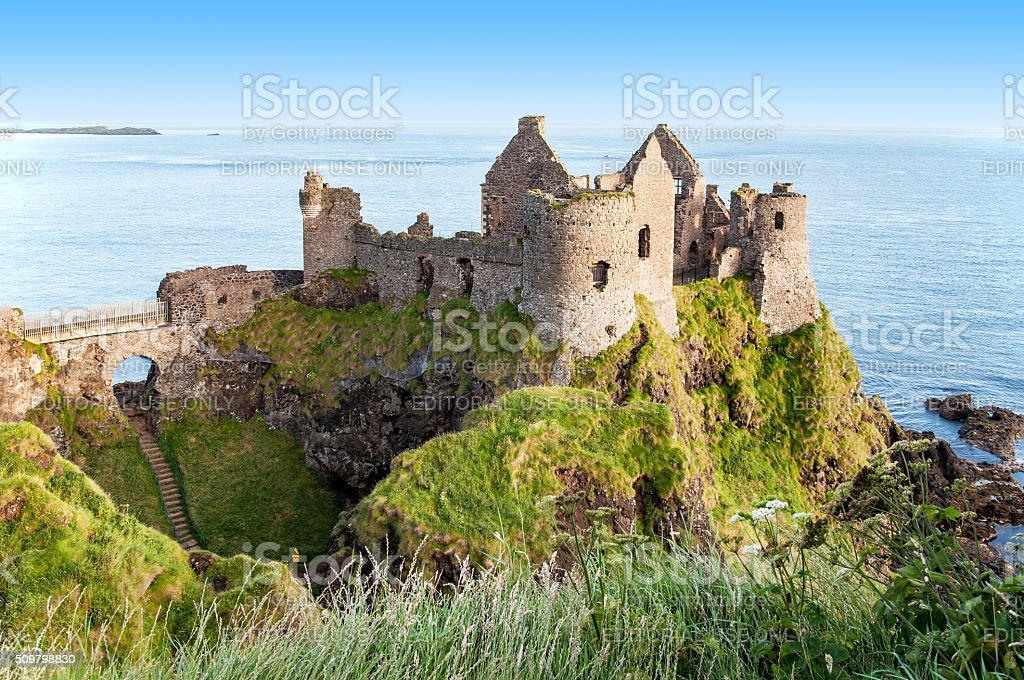Ruins of Dunluce Castle in Northern Ireland stock photo