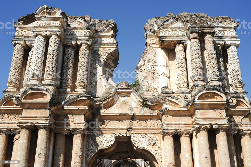 Ruins of El Carmen church at Antigua stock photo
