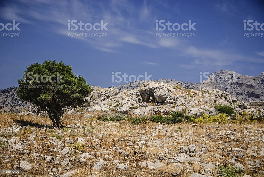 Ruins of Feraklos Castles - Rhodes, Greece royalty-free stock photo
