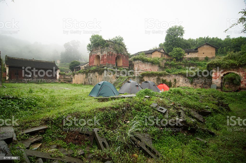 Ruins of Five Dragon Temple in Wudangshan stock photo