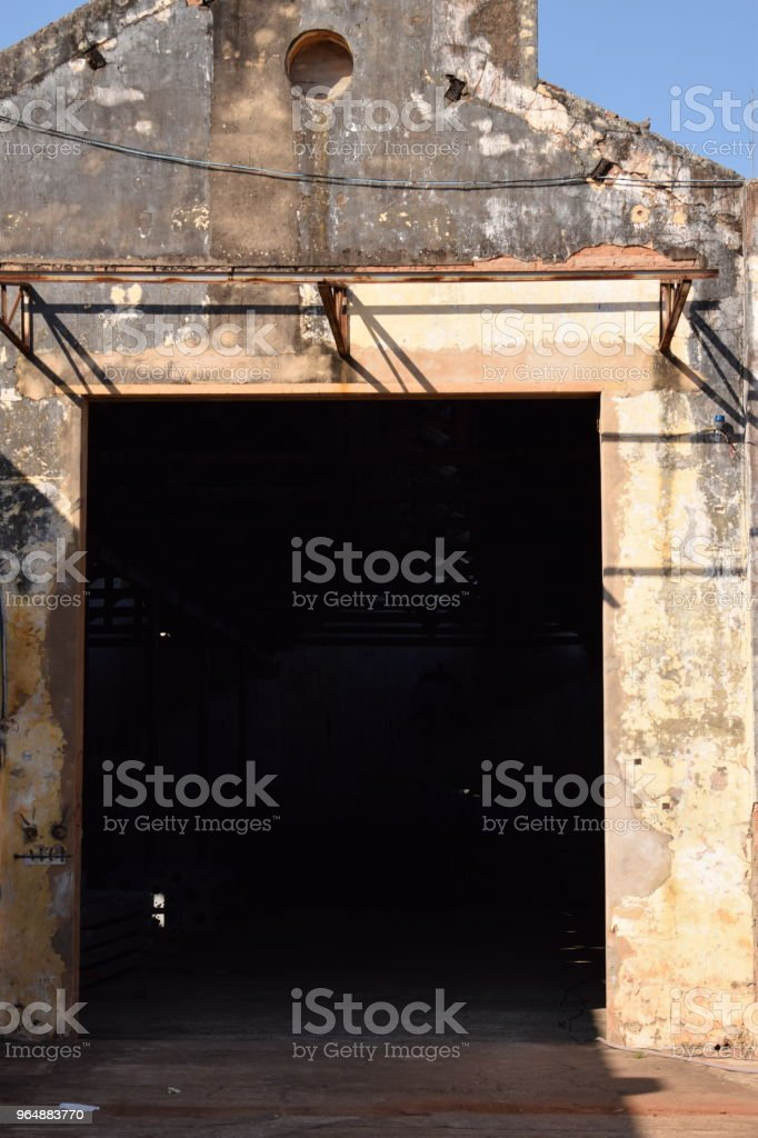 Ruins of former factory of tissue incinerated royalty-free stock photo