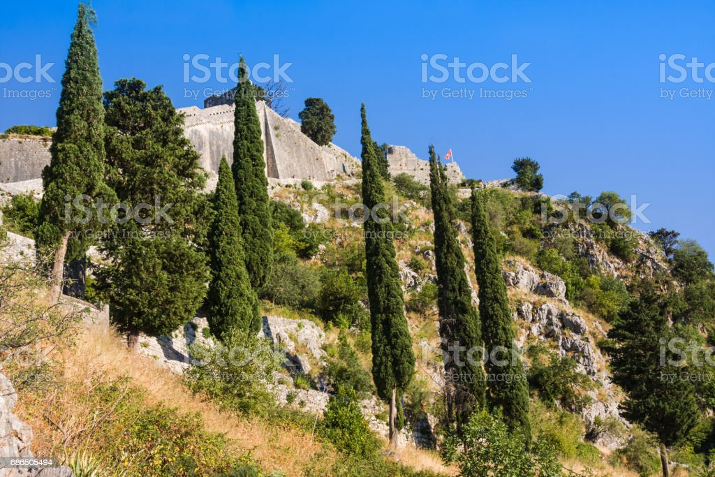 Ruins of fortress of St John over Kotor, Montenegro royalty free stockfoto