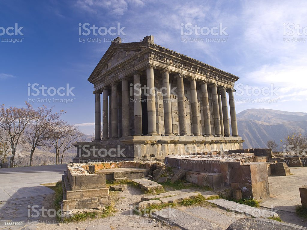 Ruins of Garni temple from the first century stock photo