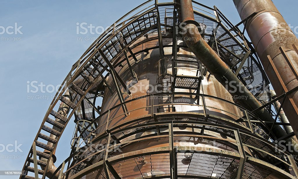Ruins of gasworks at city park royalty-free stock photo
