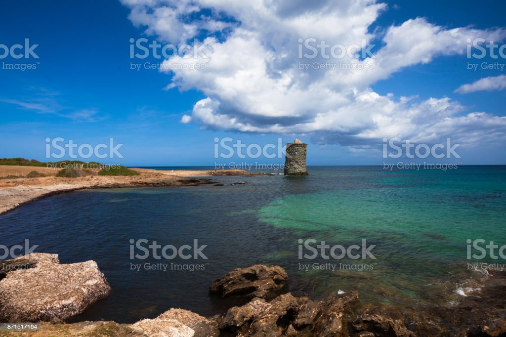 Ruins of genovese tower in Corsica, Frace stock photo