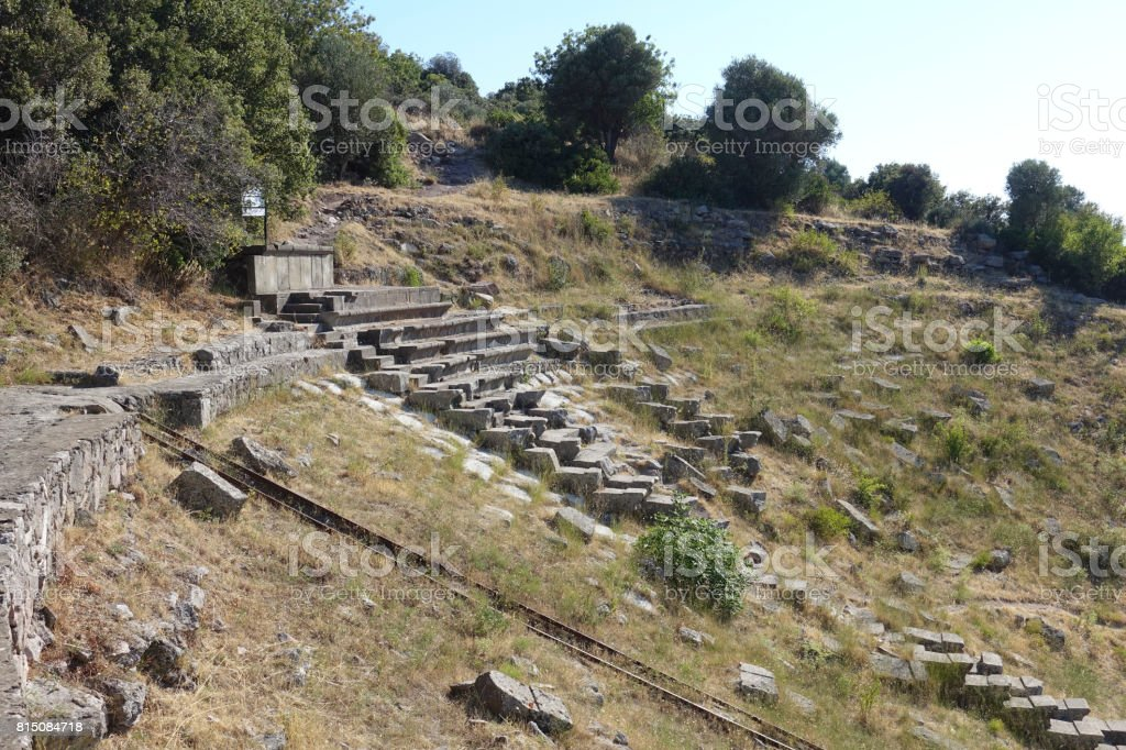 Ruins of Greek theater at Erythreai stock photo