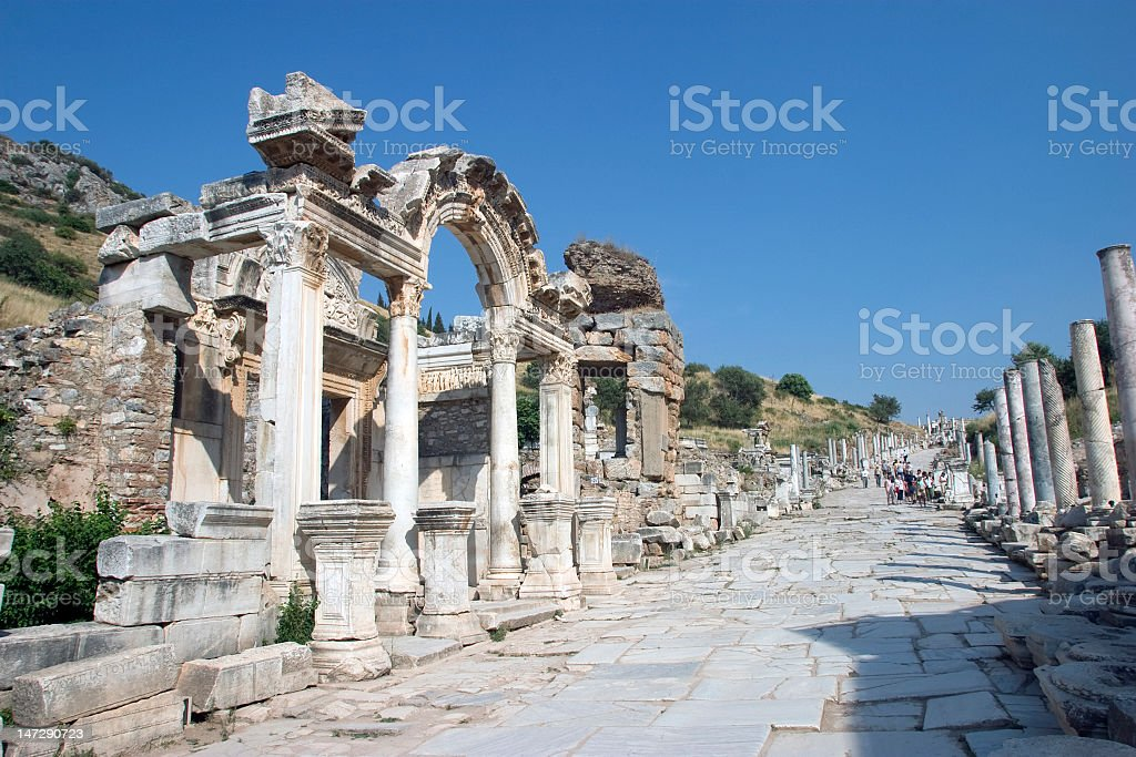 Ruins of Hadrians Temple in Ephesus, Turkey stock photo