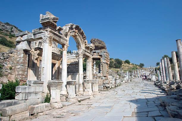 Ruins of Hadrians Temple in Ephesus, Turkey stok fotoğrafı
