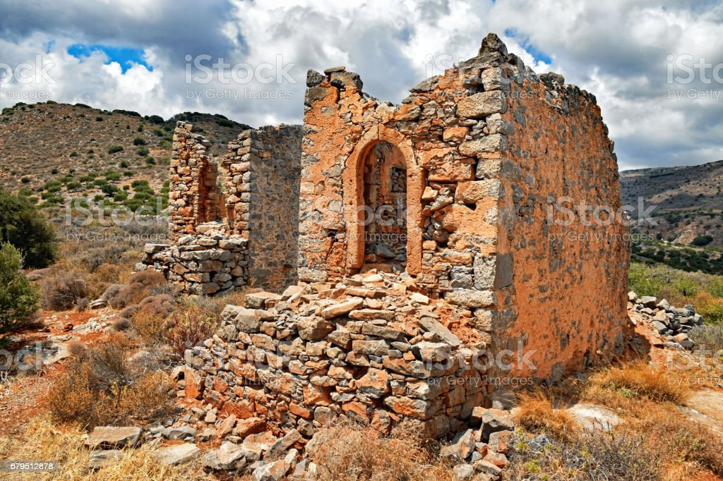 Ruins of historical windmills on the island of Crete in Greece stock photo