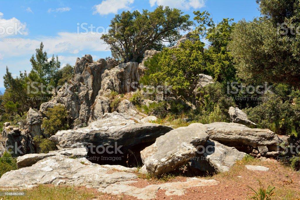 Turgut Köyü Türkiye'de Marmaris tatil beldesi yakınlarında yukarıda Hydas kalesi kalıntıları ediyor. stok fotoğrafı