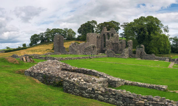 Ruins of Inch Abbey in Northern Ireland stock photo