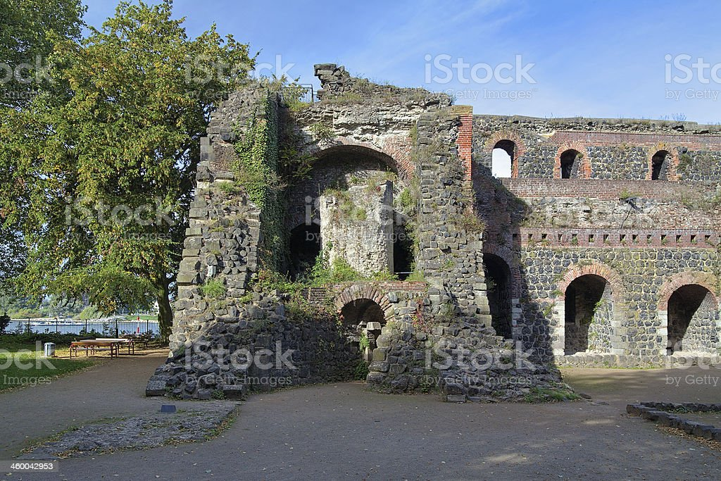 Ruins of Kaiserpfalz in Kaiserswerth, Germany stock photo