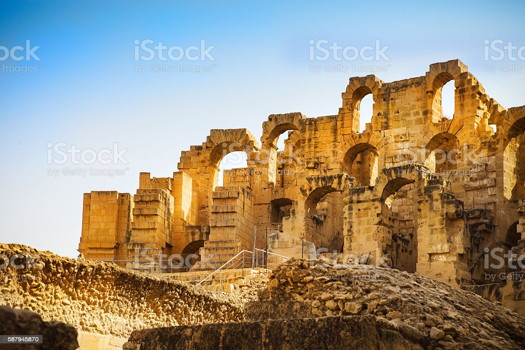 Ruins of largest colosseum in  North Africa. El Jem,Tunisiа stock photo