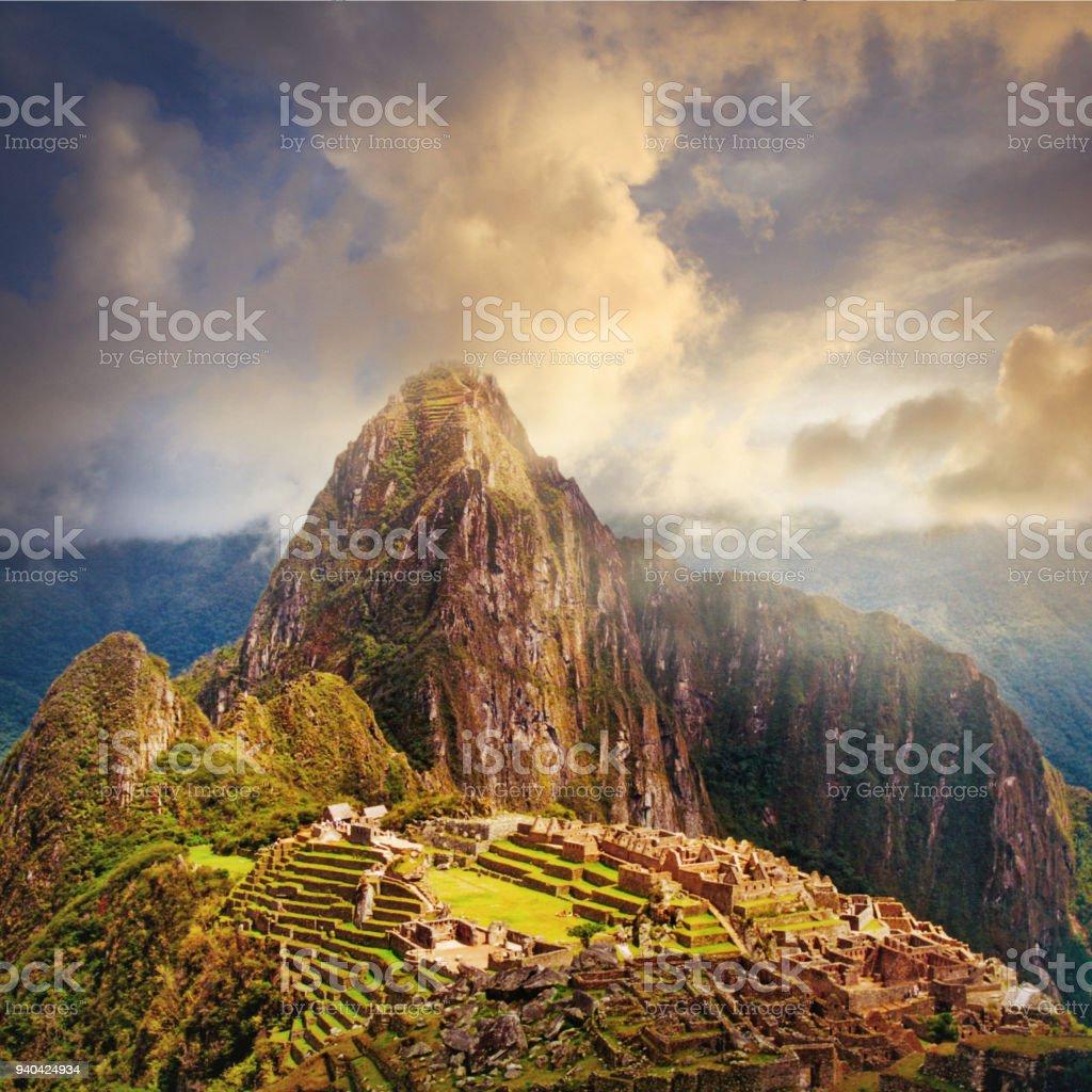 Ruins of Machu Picchu in Peru stock photo