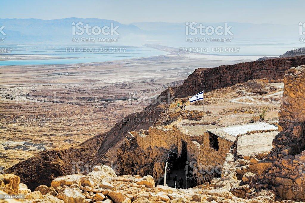 Ruins of Masada Fortress and view of Dead Sea, Israel stock photo