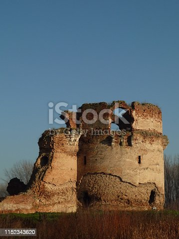 Ruins of medieval fortress in Bac, Serbia. Founded by the king Charles Robert I, the fortress was the most important Hungarian rampart against the invading Ottoman forces and today is the best preserved medieval fort in Vojvodina.