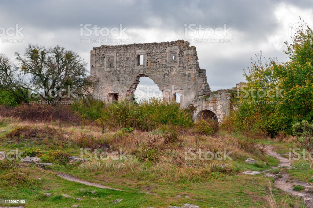 Ruins of medieval fortress in Crimea stock photo