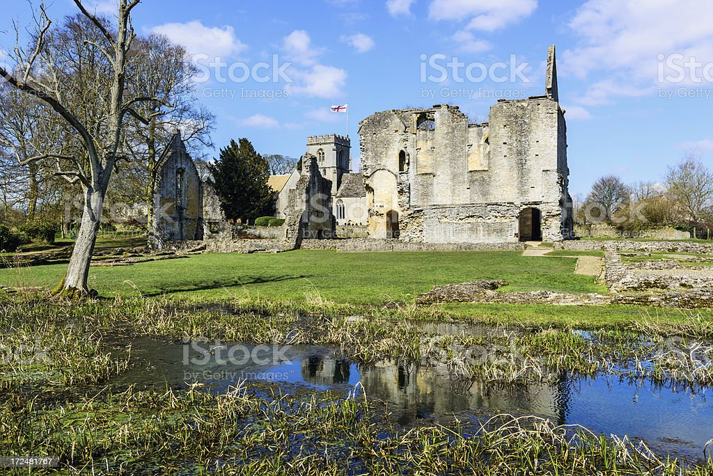 Ruins of Minster Lovell Hall in Oxfordshire, England stock photo