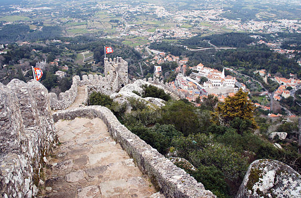Ruins of Moorish castle view in the Sintra stock photo