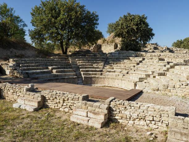 Ruinen des Odeon und Bouleuterion in alten Troy Stadt, Canakkale, Türkei – Foto