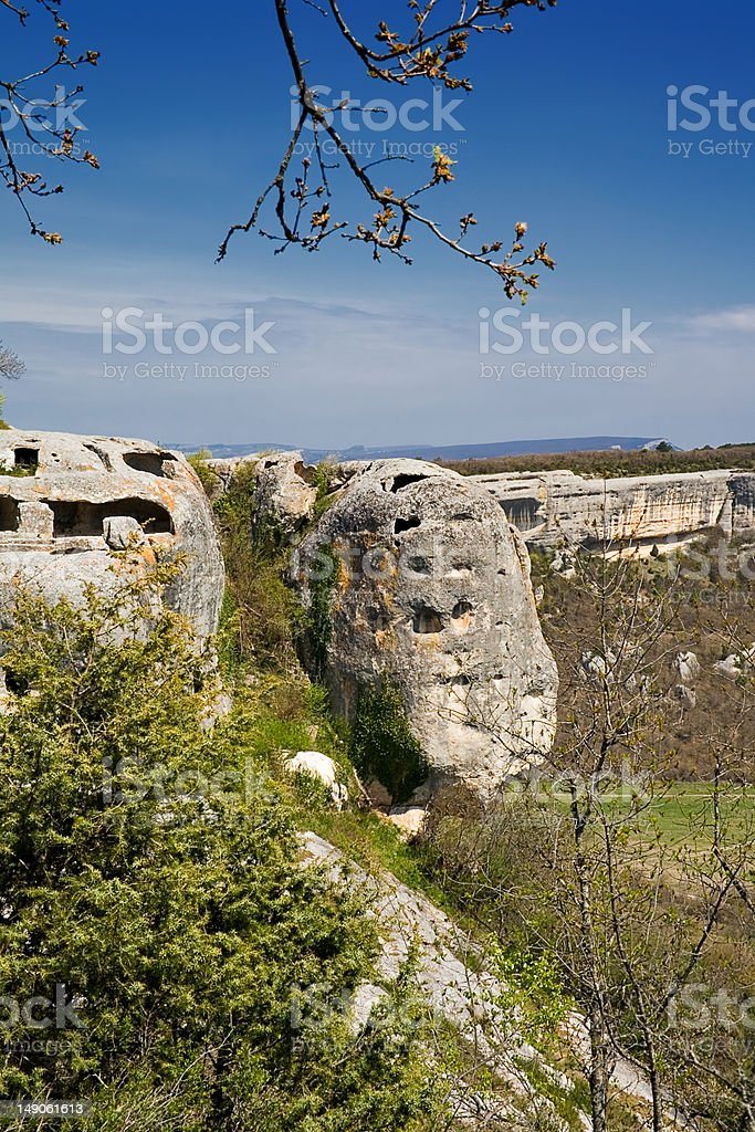 ruins of old cave town Inkerman stock photo