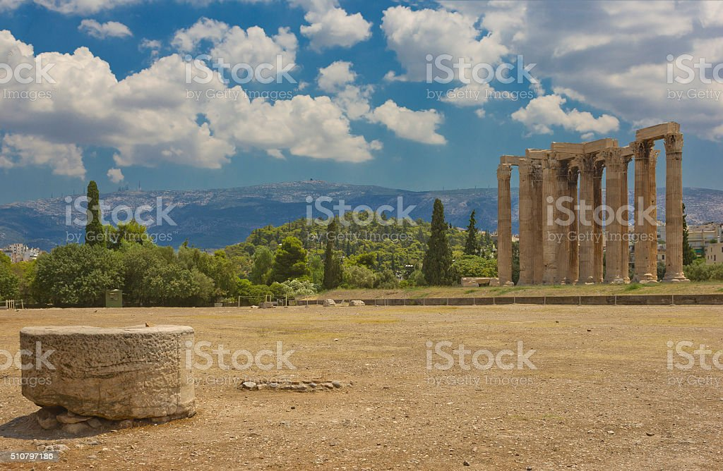 Ruins of Olympieion in Athens, Greece stock photo