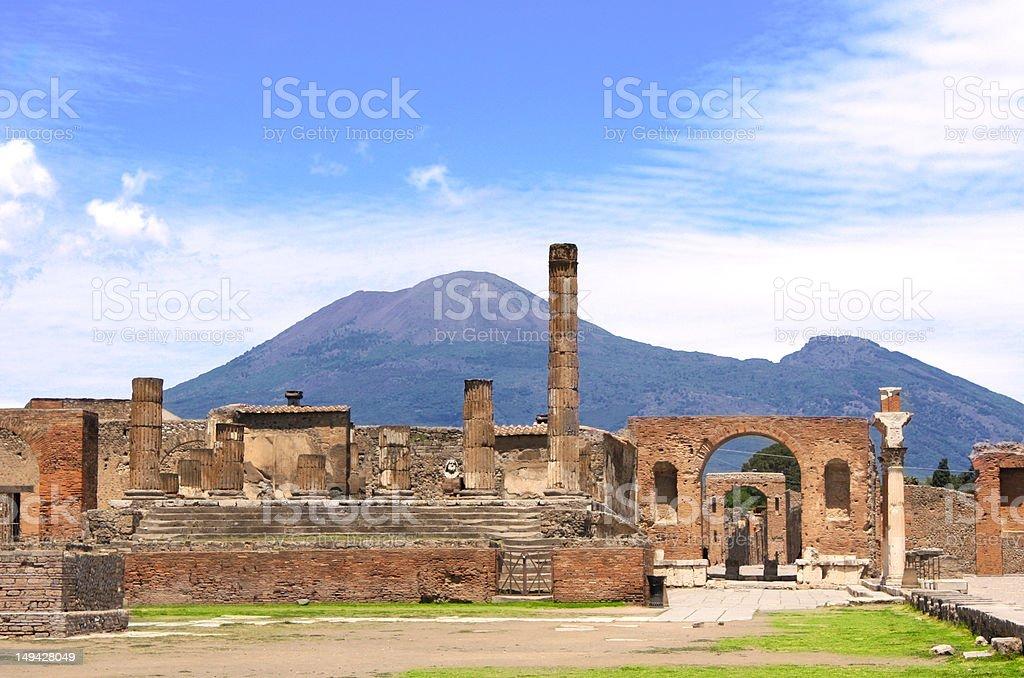 Ruins of Pompeii and volcano Mount Vesuvius stock photo