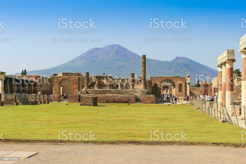 Ruins of Pompeii with Mount Vesuvius in Background, Campania, Italy stock photo