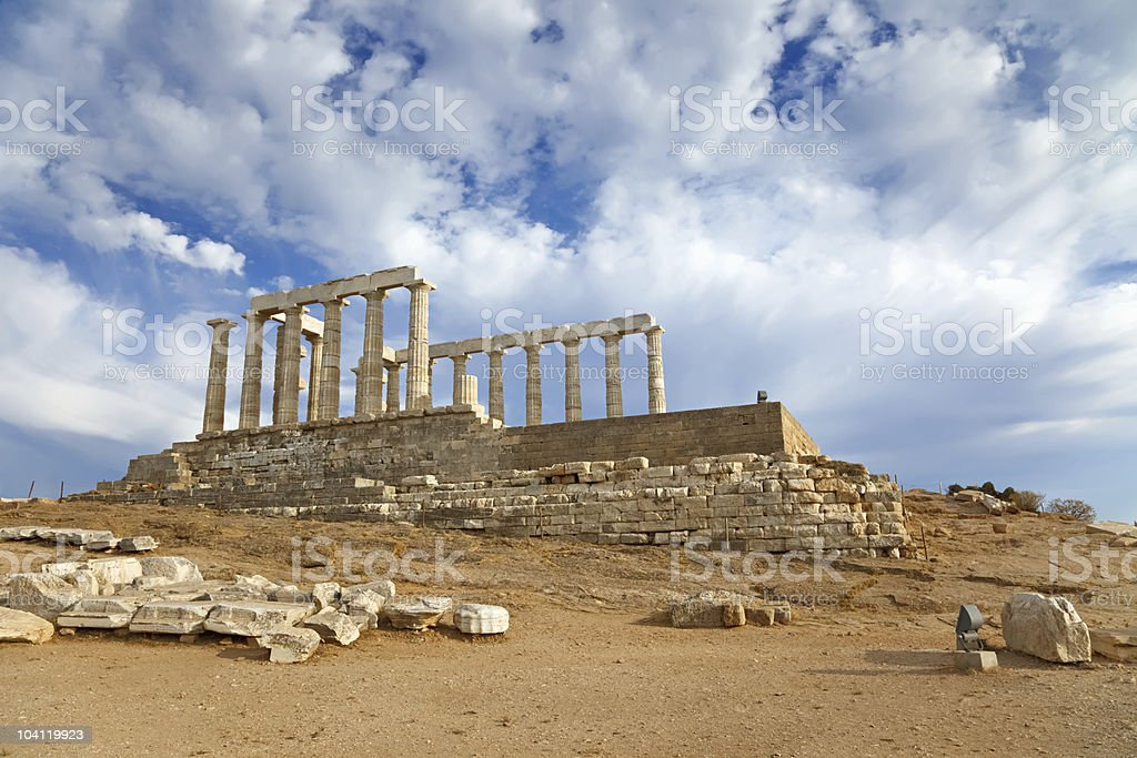 Ruins of Poseidon temple royalty-free stock photo