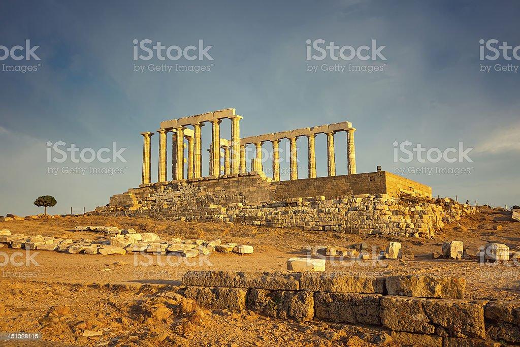 Ruins of Poseidon temple royalty-free stock photo