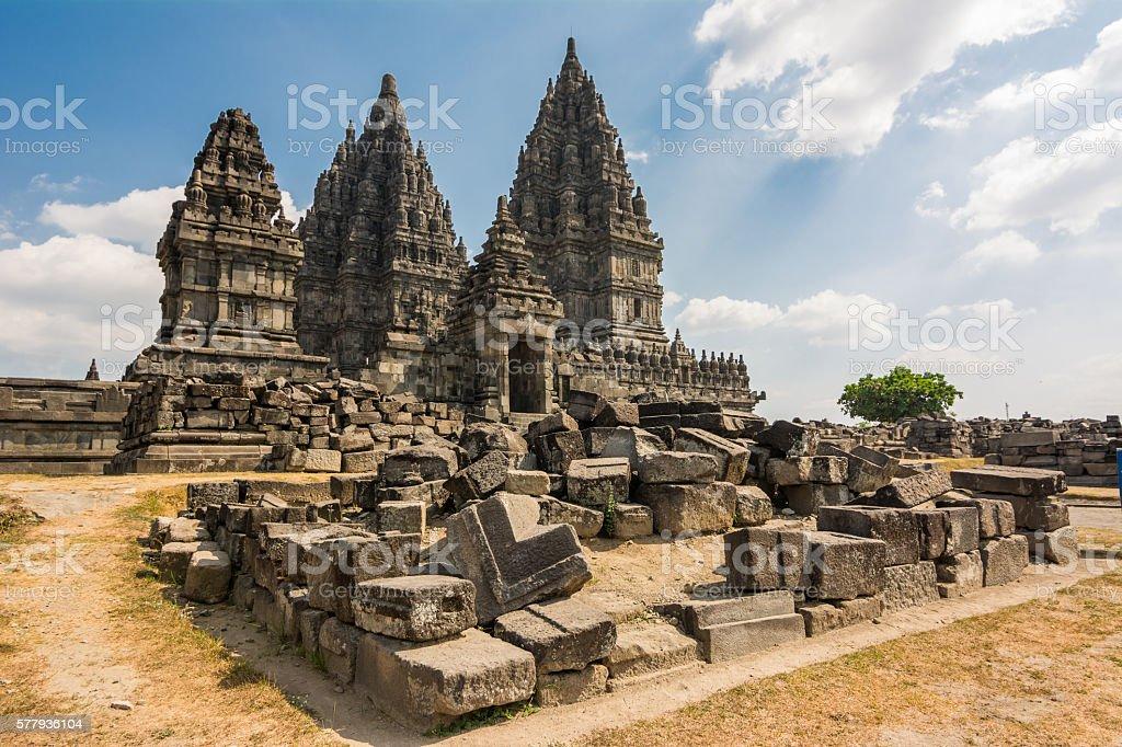 ruins of prambanan temple in yogyakarta stock photo