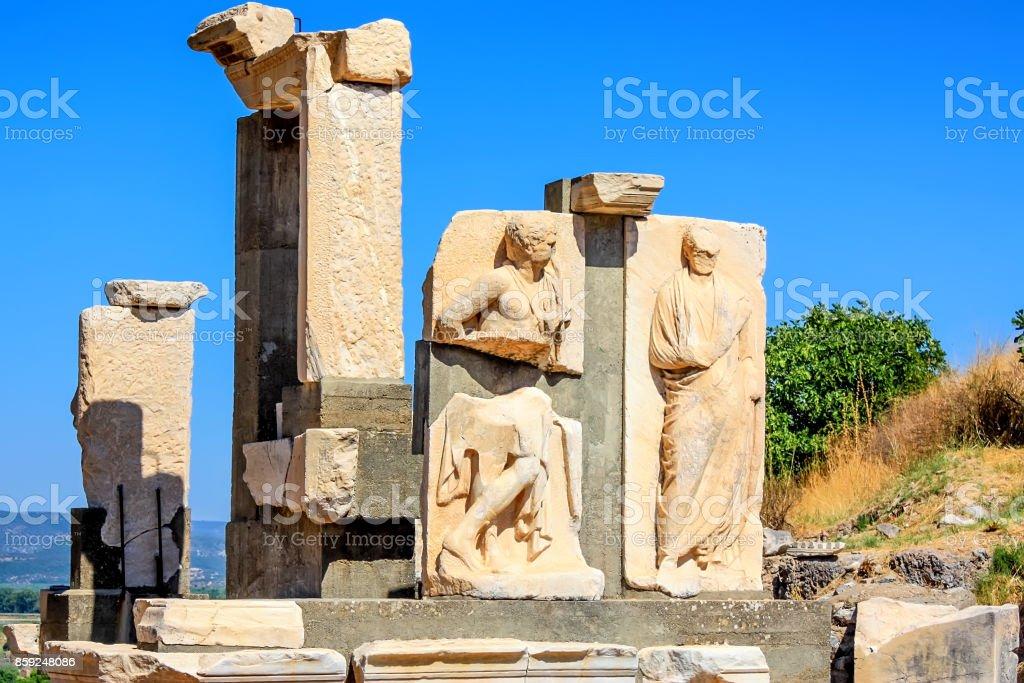 Ruins of reliefs in ancient city of Ephesus stock photo