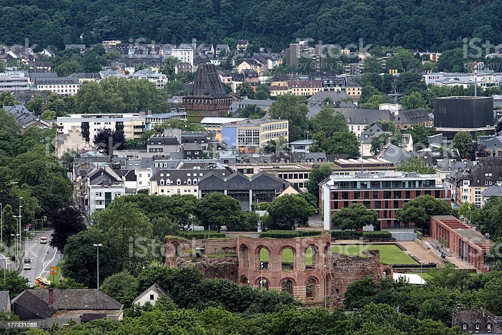 Ruins of Roman imperial baths in Trier, Germany royalty-free stock photo