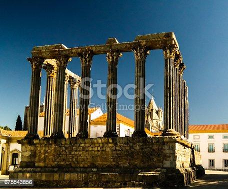istock Ruins of Roman temple of Diana in Evora, Portugal 675543856