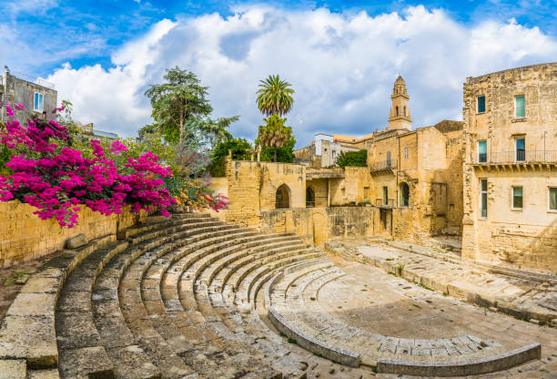 Ruins of Roman theater Ancient Roman theater in Lecce, Puglia region, southern Italy amphitheater stock pictures, royalty-free photos & images