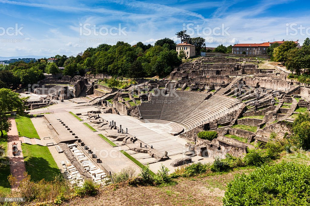 Ruins of Roman Theatre in Lyon stock photo