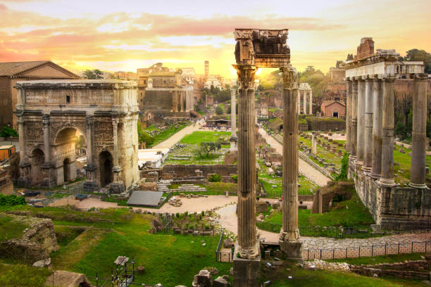 Ruins of Roman's forum at sunset, ancient government buildings started 7th century BC. Rome Ruins of Roman's forum at sunset, ancient government buildings started 7th century BC. Rome roman forum stock pictures, royalty-free photos & images