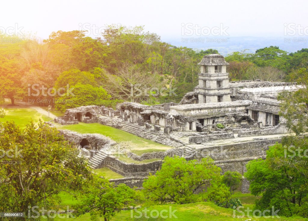 Ruins of Royal palace, Palenque, Chiapas, Mexico stock photo