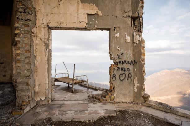 Ruins of Saddam Hussein villa stock photo
