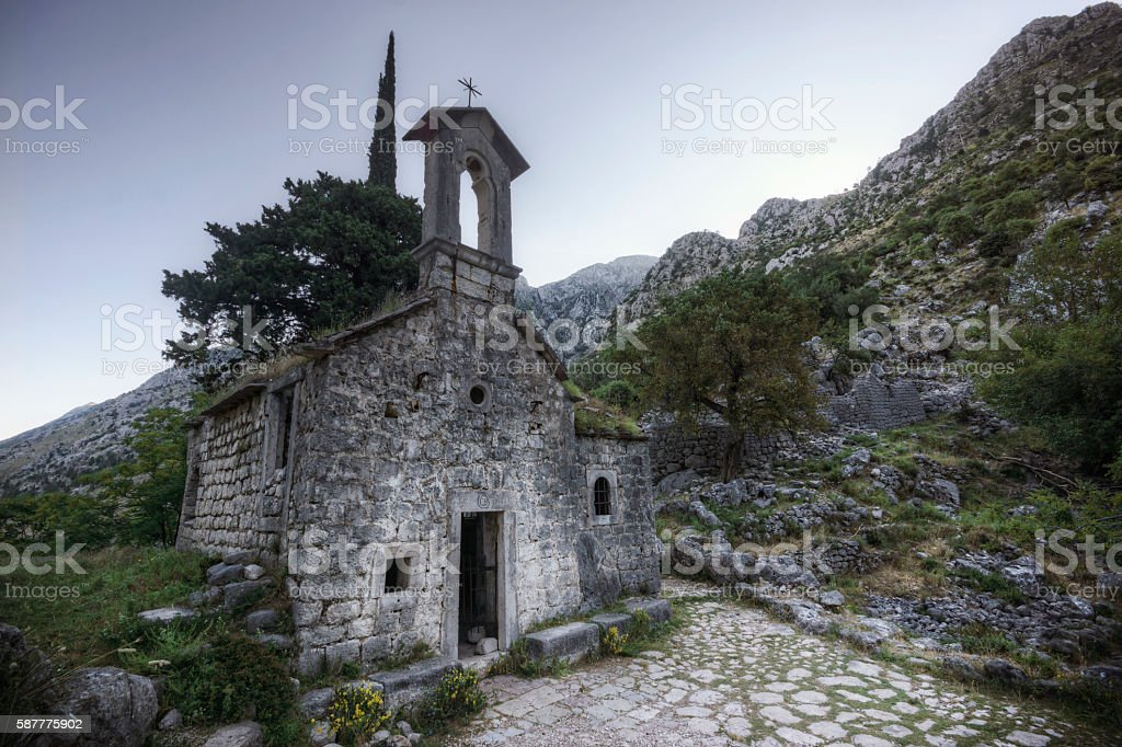 Ruins of San Giovanni Church in Kotor Montenegro stock photo