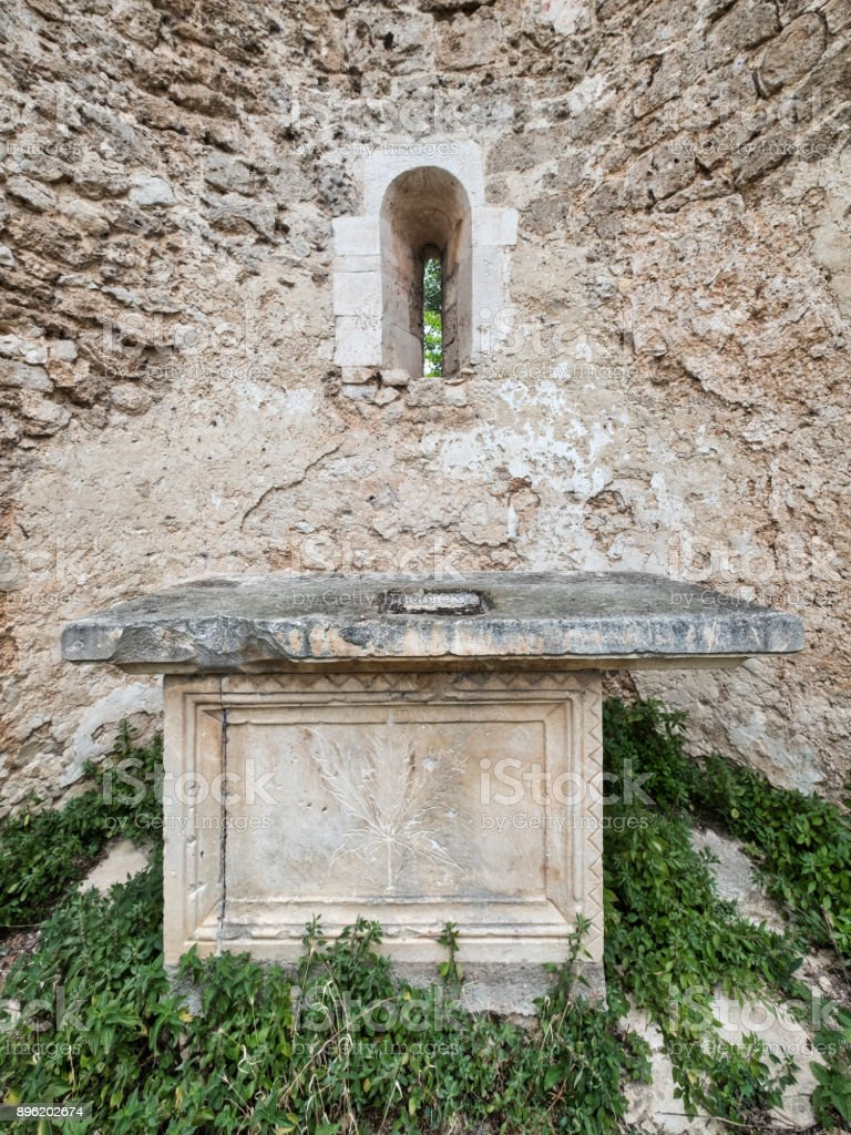 Ruins of Santa Maria di Cartignano (Abruzzi, Italy) stock photo