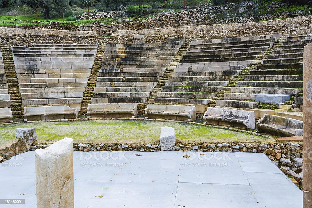 Ruins of small Epidavros Theater royalty-free stock photo