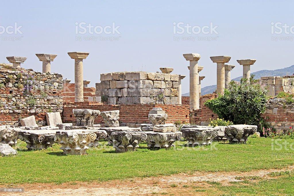Ruins of st. Johns Basilica at Ayasuluk Hill, Turkey stock photo