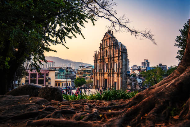 Ruins of St. Paul's ,one of most famous tourist attraction in Macau,China. stock photo