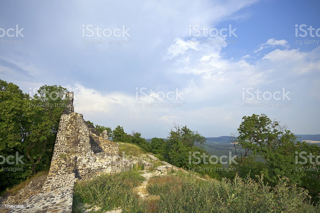 Ruins of Tatika castle with view stock photo