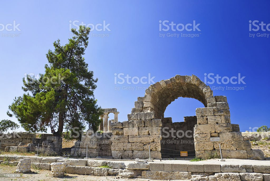 Ruins of temple in Corinth, Greece royalty-free stock photo