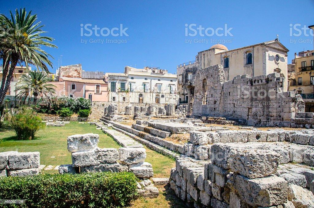 Ruins of Temple of Apollo - Ortygia stock photo